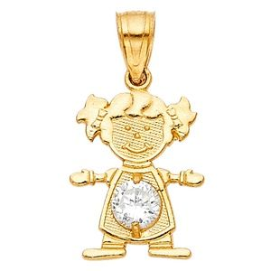 14kY Gold April  Birthstone CZ Girl Pendant